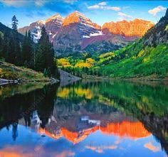 Alpen Glow, Maroon Bells, Colorado photo by jimrowinski