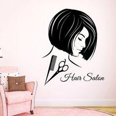 Hair Salon Wall Decals Fashion Girl Hairdressing Beauty Salon Wall Decor Scissors Comb Vinyl Decal Sticker Art Mural Make Up Decals Beauty Salon Decor, Hair And Beauty Salon, Beauty Salons, Beauty Spa, Wall Stickers Murals, Vinyl Wall Decals, Sticker Vinyl, Vinyl Dekor, Hair Salon Logos