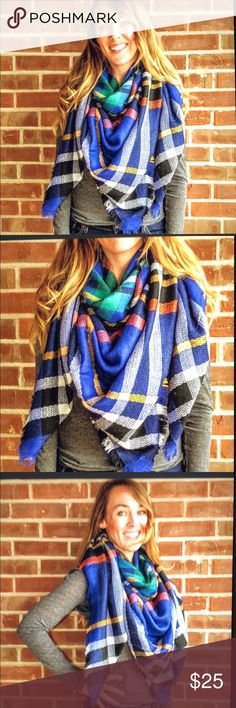 Scarf Blanket scarf blue, black, white, yellow and orange plaid. 100% acrylic. Accessories Scarves & Wraps