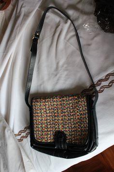 70s leather and raffia coloured bag