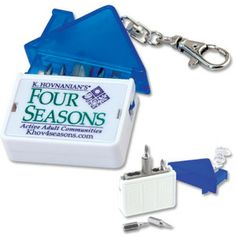 Ovation Group - Corporate Promotional Products & Ideas - House Screwdriver Kit. w/Lobster Claw Clip Includes: Two Magnetic Flathead Bits, Two Magnetic Phillips Bits