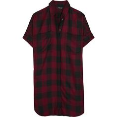 Madewell Courier plaid voile shirt dress ($56) ❤ liked on Polyvore featuring dresses, clothing - dresses, burgundy, t-shirt dresses, long plaid shirt dress, sleeve shirt dress, tartan shirt dress and madewell