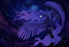 #1379476 - alicorn, artist:dragonrise studio, glowing eyes, pony, princess luna, safe, solo, space, spread wings - Derpibooru - My Little Pony: Friendship is Magic Imageboard