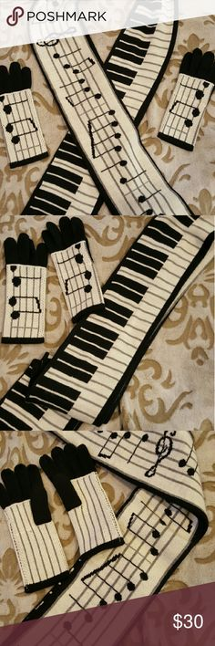 Green ~ Reversible Piano Keys/Notes Scarf & Gloves Green, NWOT,  An adorable and fully reversible scarf featuring piano keys on one side and music notes on the other. This set includes gloves with music notes on the top portion of the hands and stripes on the palms. These 2 can be laundered & are a cotton/nylon blend. Perfect for the music lover in our lives. Green Accessories Scarves & Wraps