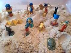 Ancient Egypt Sensory Bin (kinetic sand and Safari Ancient Egypt Toob) - Kindergarten Activity - History Activity - Kids Sensory Activity