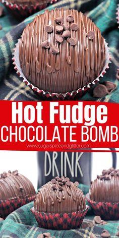 Hot Chocolate Gifts, Hot Chocolate Fudge, Homemade Hot Chocolate, Hot Chocolate Recipes, Hot Fudge, Hot Cocoa Recipe, Cocoa Recipes, Sweet Recipes, Bombe Recipe