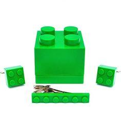LEGO® Manschettenknöpfe & Tie Slide (grün) Herren Hochzeit Geburtstag Geschenk-Box Geschenk - http://schmuckhaus.online/sjp-cufflinks/lego-manschettenknoepfe-tie-slide-gruen-herren