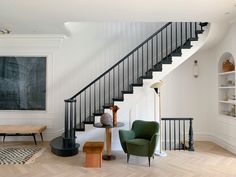 Athena Calderone is an author and multidisciplinary creative. Her work spans interior design, styling, and creative direction. Entryway Stairs, House Stairs, Black Staircase, Narrow Staircase, Staircase Landing, Staircase Remodel, Spiral Staircases, Design Entrée, Home Stairs Design