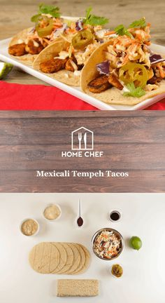 Mexicali Tempeh Tacos With Cider Tahini Slaw, Lime Crema, and Pickled Jalapeños Pickling Jalapenos, Home Chef, Tahini, The Fresh, Pickles, Cravings, Vegetarian Recipes, Clean Eating