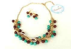Brown & Green Beaded necklace&earrings  set