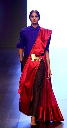 payalkhandwala - - Silk Shirt, Silk Saree and Silk Drop Crotch Pant Drape Sarees, Saree Draping Styles, Saree Styles, Indian Dresses, Indian Outfits, Latest Indian Fashion Trends, Indian Photoshoot, Modern Saree, Saree Dress