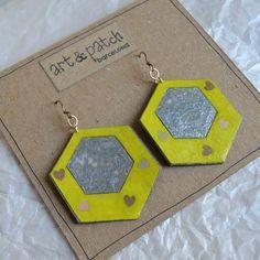 #pendientes hexagonales #handmade #fetama #barcelonainspira #barcelona #diseñosexclusivos #disseny #diseñodeautor #regalosoriginales