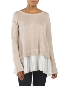 Long Sleeve Pleated Twofer Sweater - Crew & V-neck - T.J.Maxx