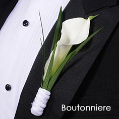 Groom and Groomsmen boutonniere  Single white calla lily with palm. Matching wrist corsages for grandmothers, and mothers