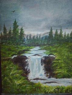 "9""x12"" original acrylic art painting waterfall landscape 132 £30.00"