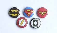 DC Hero Logos Button Pin Set by ItDoesntMatterInk on Etsy