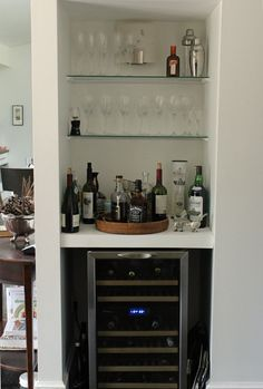 With Kids: Victoria Larson Turn nook or closet into liquor cabinet/wine storage. from Living With Kids: Victoria LarsonTurn nook or closet into liquor cabinet/wine storage. from Living With Kids: Victoria Larson Closet Nook, Closet Bar, Bar Interior, Liquor Storage, Alcohol Storage, Petits Bars, Bar Cart Decor, Home Bar Designs, Small Bars