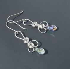 Swarovski silver earrings crystal AB sterling by VeraNasfaJewelry, $41.00
