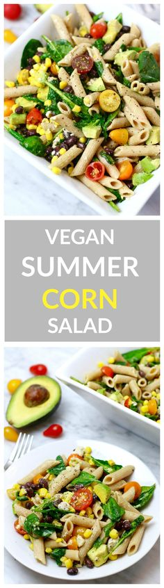 Vegan Sweet Corn Summer Salad. This salad is bursting with summer flavor from sweet corn, cherry tomatoes, and fresh veggies. It can be made vegan and/or gluten-free. Awesome for summer BBQs and potlucks!