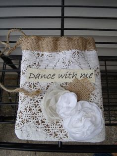 """Natural Burlap dollar dance bag  """"Dance with Me"""" Country Rustic Wedding Bridal purse White cotton crochet  Fabric Flowers. $30.00, via Etsy."""