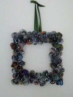 Rolled Paper Wreath made with old magazines