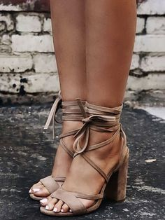 Faux Suede Lace-up Chunky Heeled Sandals