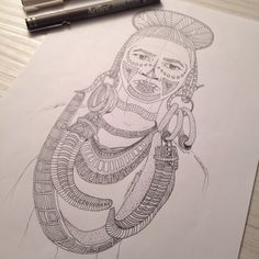My drawing, Tribal portrait of a man tribal. You like this picture ? Tribal Drawings, My Drawings, Adult Coloring Pages, To My Daughter, Miniatures, Portrait, Pattern, Pictures, Etsy