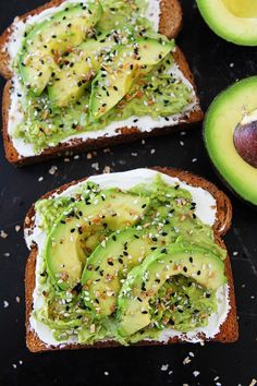 Everything Bagel Avocado Toast tastes just like an Everything Bagel. Toast is topped with cream cheese, avocado, and Everything Bagel Seasoning. You will love this easy avocado toast for breakfast, lunch, or snack time. Avocado Dessert, Vegetarian Recipes, Cooking Recipes, Cooking Tips, Keto Recipes, Fish Recipes, Vegan Vegetarian, Salad Recipes, Food Inspiration