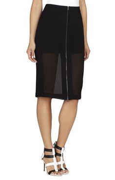 BLACK Black Pencil - Francesca Chiffon-Panel Pencil Skirt