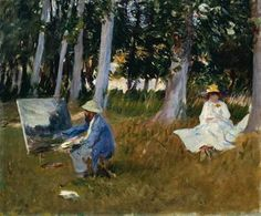 Claude Monet Painting by the Edge of a Wood by John Singer Sargent, oil painting.