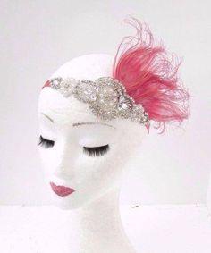 Inspi.  //  Coral Pink Silber Feder Kopfschmuck der 1920er Jahre Stirnband