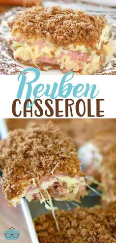Baked Reuben Casserole is like a huge reuben sandwich for a crowd! Layers of rye bread pastrami/corned beef sauerkraut Swiss cheese and a special sauce! Reuben Casserole, Beef Casserole, Casserole Dishes, Casserole Recipes, Skillet Recipes, Reuben Sandwich, Corned Beef Sandwich, Picnic Sandwiches, Breakfast Sandwiches