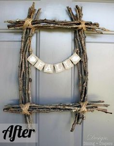 This idea made into a cross would make a great Easter craft.  Life as a Thrifter: Wednesday Redo: Twig Wreath