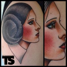 Love this. Traditional style Princess Leia tattoo