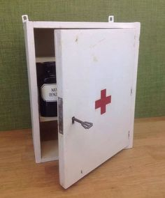 Vintage First Aid Wall Cabinet With Key Bathroom Cupboard Industrial Polish in Antiques, Antique Furniture, Cabinets | eBay