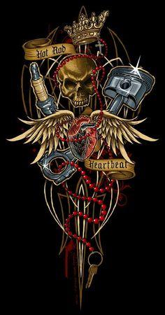 coming soon poster design Hot Rod Heartbeat by Dan - posterdesign Skull Tattoo Design, Skull Tattoos, Tattoo Designs, Harley Davidson Wallpaper, Harley Davidson Art, Tatuagem Hot Rod, Freundin Tattoos, Mechanic Tattoo, Pinstripe Art