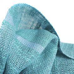 Foulard de lino y algodón flambeado con lino color turquesa