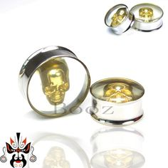 gold skull stainless steel ear plugs tunnels piercing body jewelry ear gauges sell by pair♦️ SMS - F A S H I O N 💢👉🏿 http://www.sms.hr/products/gold-skull-stainless-steel-ear-plugs-tunnels-piercing-body-jewelry-ear-gauges-sell-by-pair/ US $3.69