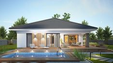 Miriam III - zdjęcie 3 Modern House Floor Plans, Modern Bungalow House, Simple House Plans, Beautiful House Plans, Bungalow House Plans, Contemporary House Plans, Village House Design, Kerala House Design, House Front Design