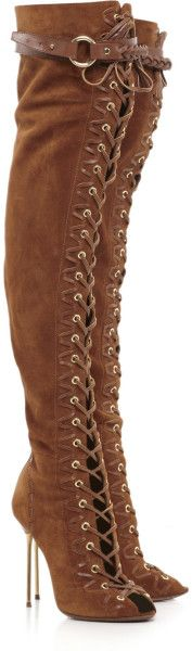 Lace-up Suede Thigh-high Boots - Lyst