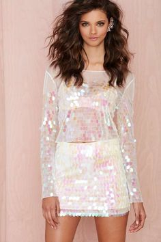 THE WHOLE LOOK Heart of Glass Iridescent Paillette Skirt   Shop Clothes at Nasty Gal