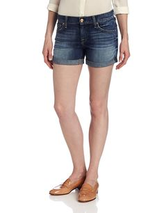 7 For All Mankind Women's Relaxed Mid Roll Up Short in Authentic Bright Blue ** This is an Amazon Affiliate link. Click image for more details.