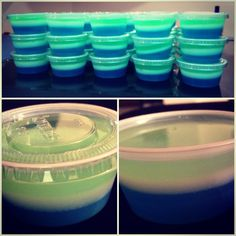 Seahawks Layered Jello Shots