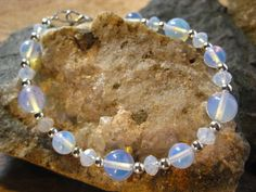 Sri Lanka Moonstone and Crystal Bracelet by TheHiddenMeadow
