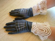 ART DECO GLOVES, c. 1920s. GAUNTLET STYLE. DIVINE SOFT LEATHER. STUNNING DEEP LACE via eBay