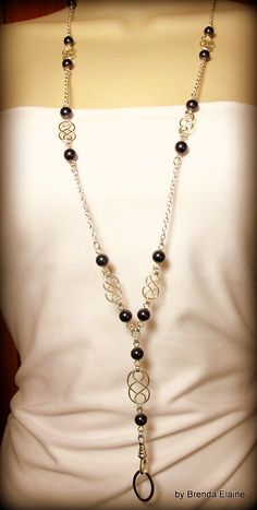 Lanyard and Matching Earrings - Handcrafted Celtic Knot & Pearl Necklace-you choose the color