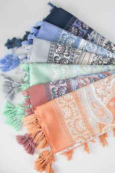 a rainbow of color. Simply Noelle spring scarves.