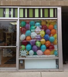 A Little Bit Of This Celebrates their 10th year of monogramming this April. To celebrate we have filled our window display with balloons! More information about our anniversary party to come. Follow our store on Facebook!