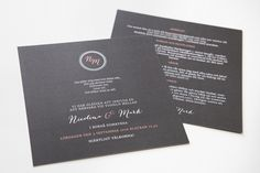 Tummapohjaiset hääkutsut / Bröllopsinbjudan och infokort / Custom made wedding invitations by www.makeadesign.fi