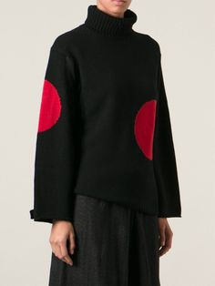 Yohji Yamamoto Knitted Jumper -large, simple intarsia motif, silhouette.